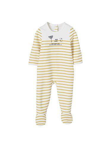 Vertbaudet Baby Neugeborene aus Molton gelb würzig gestreift - 50 cm