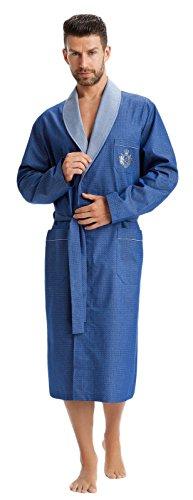 LEVERIE edler und hochwertiger Morgenmantel für Herren mit elegantem Muster, blau mit Emblem, Gr. XXL