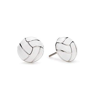 GIMMEDAT Volleyball Silver Stud Charm Earrings Jewelry Women Girls Player Fan Gift