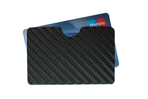 RFID & NFC Schutzhülle für EC Karten Bankkarten Geldkarten Ausweis etc, Aluminium Datenklauschutz - Carbondesign schwarz waager.