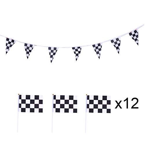 Amosfun 12pcs Karierten schwarzen und weißen Wimpel Banner Racing Flaggen Karierten Racing Flaggen auf Sticks (2 Banner und 10 Flaggen)