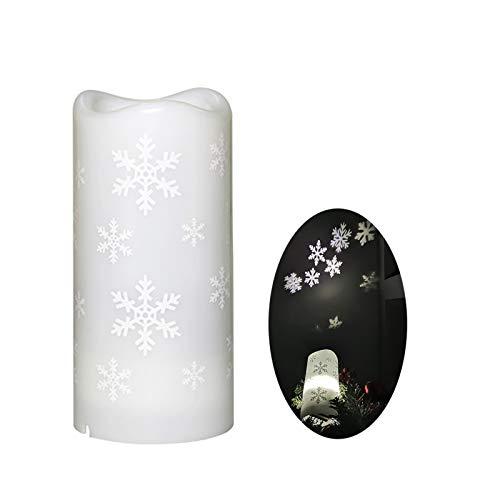 SUNTRIC Proyección de luces de vela LED por batería o carga USB, lámpara de proyección de copo de nieve de muñeco de nieve para decorar fiestas de Navidad o fiestas nocturnas