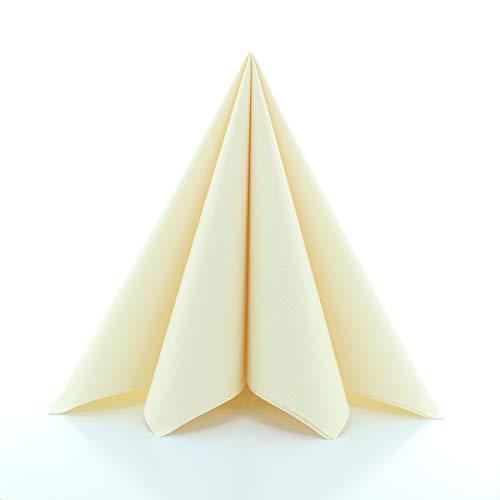 Sovie Home Linclass®Airlaid Serviette 40x40cm | saugstark und reissfest | Faltbar | ideal für Hochzeiten und Feste | Creme | 12 Stück