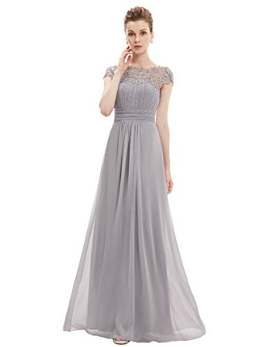 Ever-Pretty Womens Cap Sleeve Lace Neckline Ruched Bust Evening Gown 6 US Grey