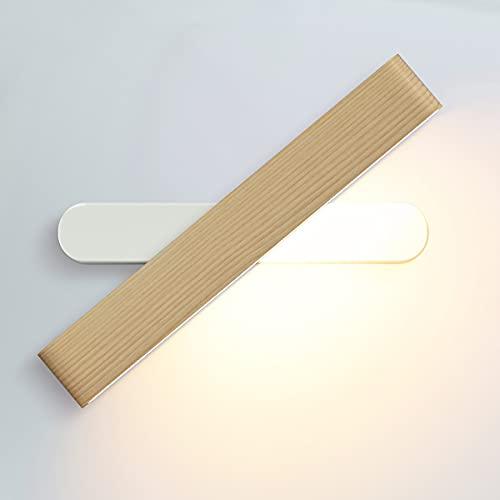 Martll Lámpara de Pared LED Interior Aplique de Pared Madera Luz de pared 360° Giratoria Blanco Cálido Lámpara Pared para...