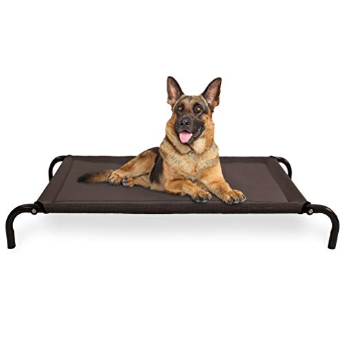 Furhaven Pet Dog Bed - Mold and Mildew Resistant Breathable Cooling Mesh Elevated Pet Cot Bed for Dogs and Cats, Espresso, Large