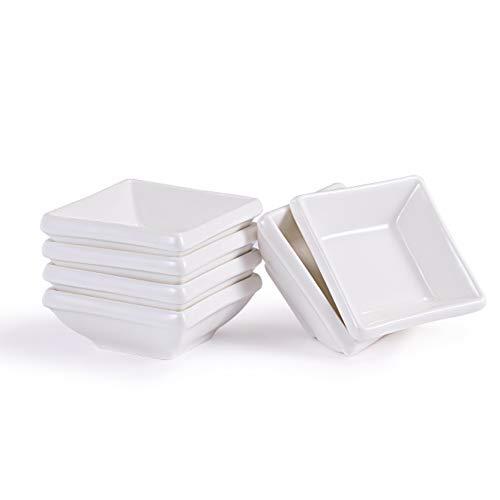 Urban Lifestyle 6 x Saucenschälchen Yumi quadratisch aus Porzellan (6 x 6 x 2,5 cm)