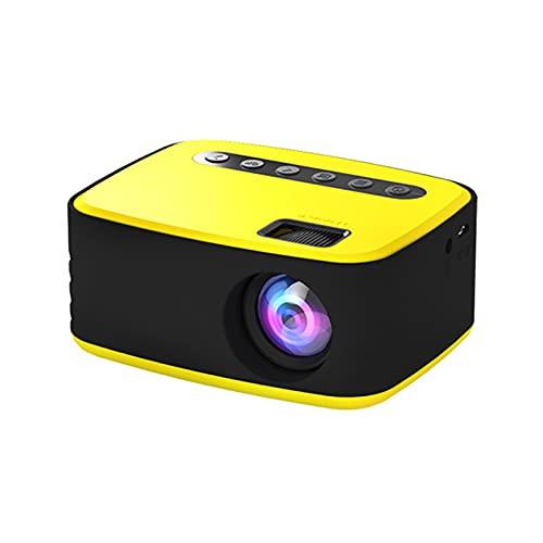 WWDKF Proyector, Mini Proyector Portátil LED HD 1080P para Casa Móvil, Adecuado para Cine En Casa, con Interfaz HDMI USB TV AV Y Control Remoto, Mini Proyector Inteligente Portátil,Amarillo
