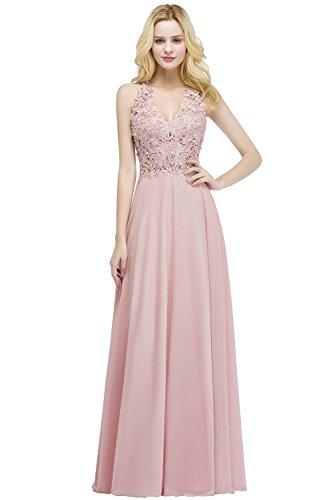 Misshow Damen Kleider V-Ausschnitt Ärmellos Elegant A Linie Abendmode Lang Abendkleid, Rosa, 38