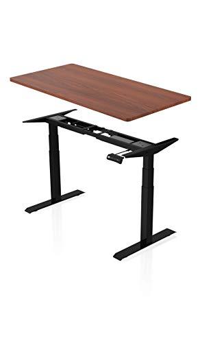 Könighaus Ergonomischer Premium Schreibtisch mit Doppelmotor - Elektrisch Höhenverstellbar (Schwarzes Gestell mit Walnussfarbener Tischplatte)