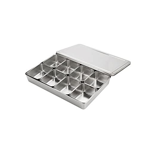FEINENGSHUAI barattoli di spezie salato e altri condimenti (con 6 contenitori e cucchiai), scatola di spezie in acciaio inox per cucina, può contenere zucchero