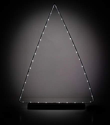 Dreieck-Leuchte, Dekoleuchte aus Metall mit 37 warm weißen LEDs, batteriebetrieben, Dreieckslicht Größe (BxH) 32 x 47,5 cm, schwarz