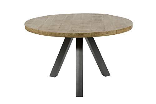 SalesFever Esstisch rund 120 cm aus Mangoholz mit Stahlbeinen Riko Weiß