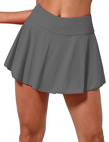 "BUBBLELIME 5""/19""/26"" XXS-XL Women's UPF 50+ Adjustable Running Skort - Pleated Skirt_Gray XX-Small-5"" Inseam"