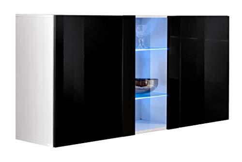 muebles bonitos – Aparador Colgante de diseño Salve en Color Blanco con Negro