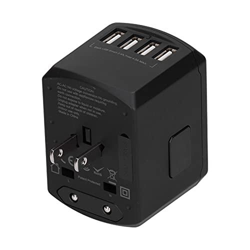 Adaptador de viaje,todo en uno en todo el mundo Adaptador de corriente universal internacional Enchufe de viaje con 4 puertos USB Cargador de pared rápido Cubierta de más de 200 países(1#)