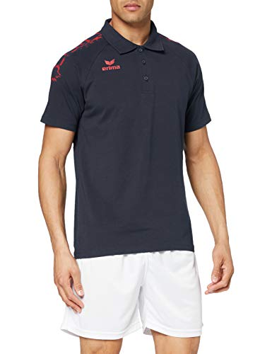 Erima Graffic 5-C Basics Polo Homme, New Navy/Rouge, FR : L (Taille Fabricant : L)