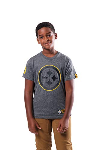 Ultra Game NFL Pittsburgh Steelers Youth Active Tee Shirt, Heather Gray, Medium