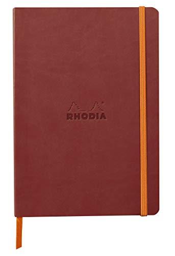 Rhodia 117437C – Cuaderno flexible Nacarat A5 (14,8 x 21 cm, 160 páginas, papel Clairefontaine marfil 90 g/m2, cierre elástico, cobertura de piel sintética – rodiarama
