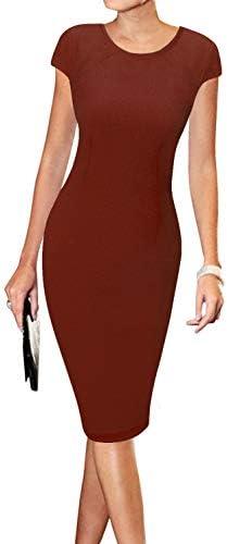 LunaJany Women s Short Sleeve Work Casual Business Church Midi Dress M Wine red product image