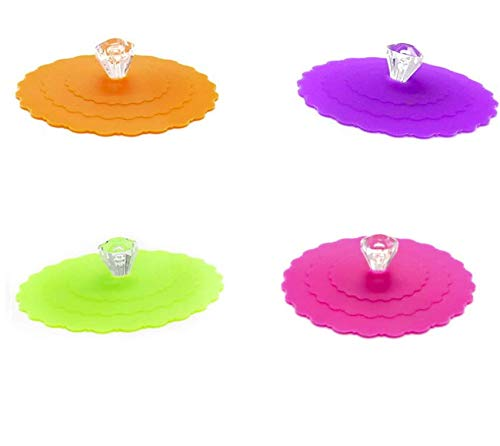 LASSUM 3Pcs Silicone Anti-dust Glass Cup Cover Coffee Mug Suction Seal Lid Cap Reusable Cup Lid