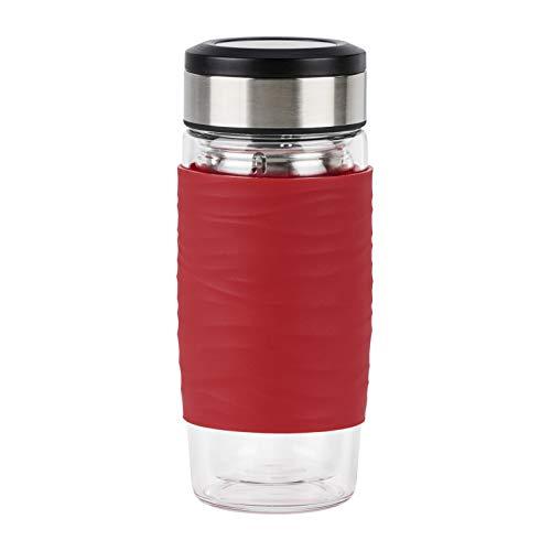 Emsa N20803 Tea Mug Teebecher aus doppelwandigem Glas   nicht isolierend   hält 1 Sunde warm   0,4 Liter   herausnehmbares Sieb   BPA-Frei   100% dicht   auslaufsicher   rot