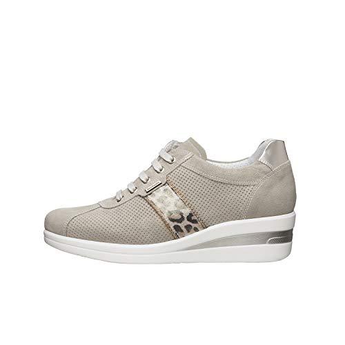 Nero Giardini E010450D Sneakers Donna in Pelle E Camoscio - Ivory 39 EU