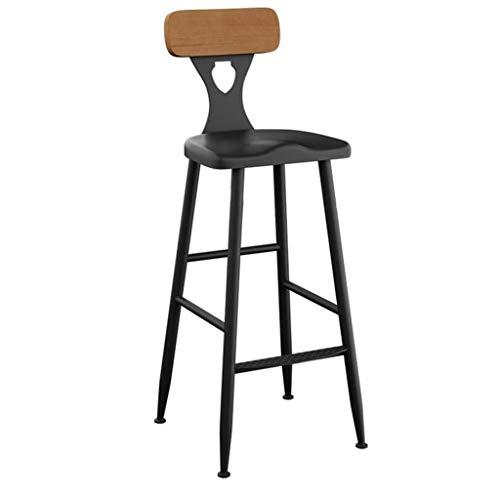 LJYY Taburete de Bar, Taburete de Bar Retro de Estilo Industrial Madera Maciza Silla de Comedor con Respaldo Alto para Cocina |Pub |CAF & Eacute;(Color: Negro; 4 tamaños)