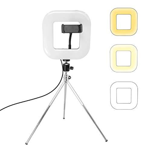 LISUONG MSII Aaaysm XWJ-D21C Luz Cuadrada LED Regulable con trípode Net Red Live Fill Light Phone Holder