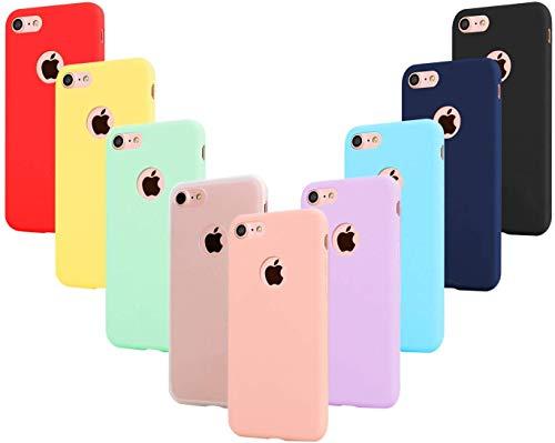 Leathlux 9 Coque Compatible avec iphone 8 4.7 Pouces Étui Silicone, Mince Souple TPU Housse Protection Gel Cover Case Rose, Vert, Violet, Bleu Ciel, Jaune, Rouge, Bleu Foncé, Translucide, Noir