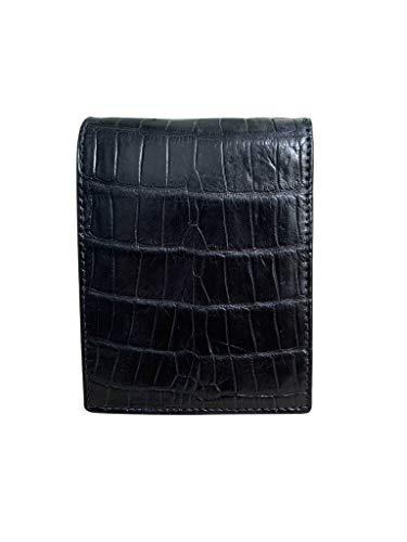 Cartera de piel de cocodrilo auténtica para hombre, con diseño vintage de color negro, 100% hecha a mano de piel de cocodrilo real, minimalista, para hombres