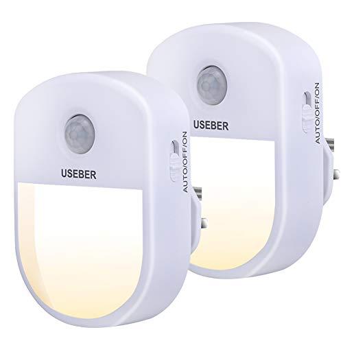 Useber Bewegungsmelder-Lichter, 0,5 W, energiesparendes LED-Nachtlicht mit 3 Beleuchtungsmodi für Küche, Kinderzimmer, Flur, Flur, Treppen (2 Stück)