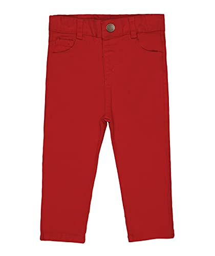 Baby boy Stretch Chino Pants - Elastic Waist Adjuster - Clothes for Babies and Toddler (Red, 12 Months)