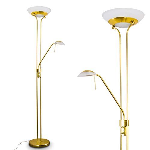 LED-bodemlamp Biot, moderne vloerlamp van metaal/glas in messing, 18 en 5 Watt, 1620 en 450 Lumen, lichtkleur 3000 Kelvin, vloerlamp met dimmer en verstelbare leesarm, met voetschakelaar op de kabel