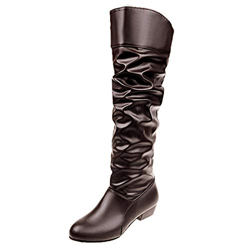 Fullwei Boots for Women,Women Knee High Boot Round Toe Combat Thigh High Slip On Boot Ladies Casual Motorcycle Riding Boot Walking Shoe (Brown, 6)