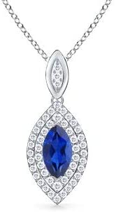 Excellence Marquise Sapphire Pendant with Diamond Surprise price Halo 10x5mm Blue Double