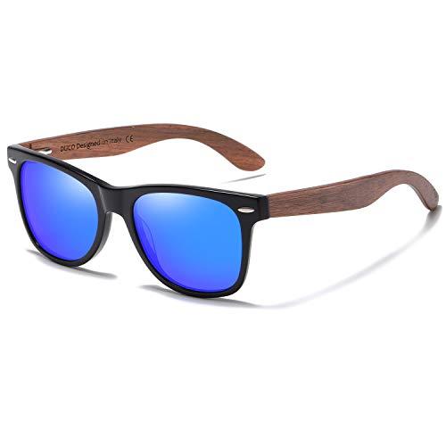 DUCO Sonnenbrille mit Holzbügeln aus Walnuss für Damen & Herren/Polarisierende Brillengläser mit UV-Schutz/mit Brillenetui aus echtem Bambus (Blau)