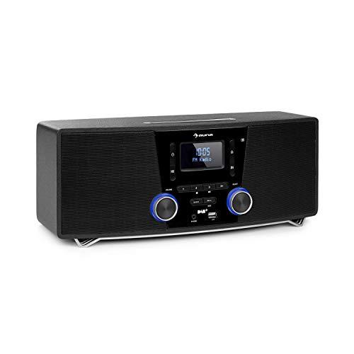 AUNA Stockton - Micro chaîne stéréo, 20W Max. (2X 5W RMS), Tuner Radio Dab+ FM, Fonction RDS, Lecteur CD, Bluetooth, Port USB, AUX-in, Écran OLED, Fonction réveil - Noir