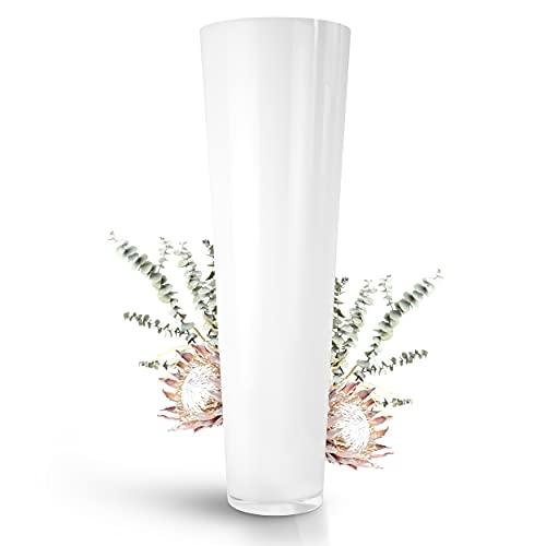 Bodenvase groß weiß 70cm hoch Ø 22,5cm - Große Bodenvase, ideal als Vase für Pampasgras und eine schöne Vasen Deko - Moderne Deko Vase zeitlos und elegant von Glaskönig