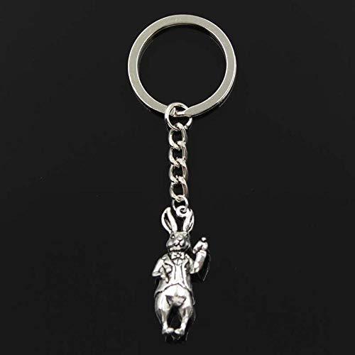 Wjlytf Llavero de moda 3D conejo color plata colgantes DIY hombres joyería coche llavero anillo recuerdo para regalo 36x15mm