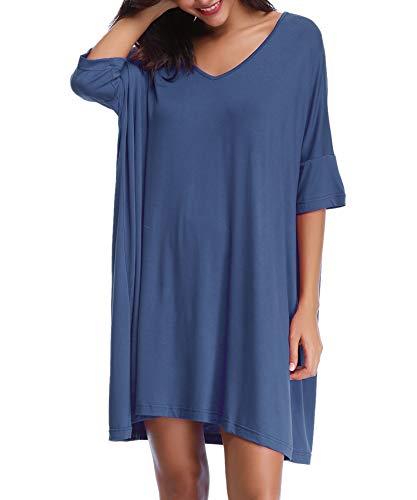 Aiboria Damen Nachthemd Modal Nachtkleid Kurz Negligee Sommer Nachtwäsche Umstandskleid Stillnachthemd Sleepshirt V Ausschnitt