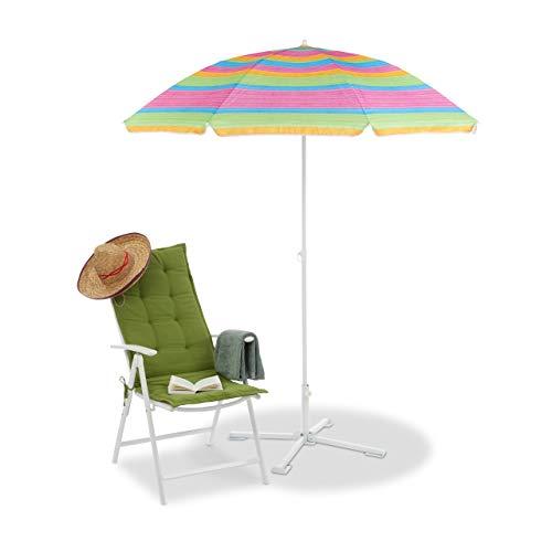 Relaxdays Ombrellone da Spiaggia & Giardino, Altezza Regolabile, Allungabile, Telo Anti UV 50+, 200x170 cm, Colorato