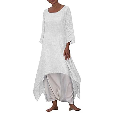 BIBOKAOKE Vestido largo para mujer, de verano, de manga larga, con aspecto de lino, asimétrico, elegante, para la playa, informal, suelto, suelto