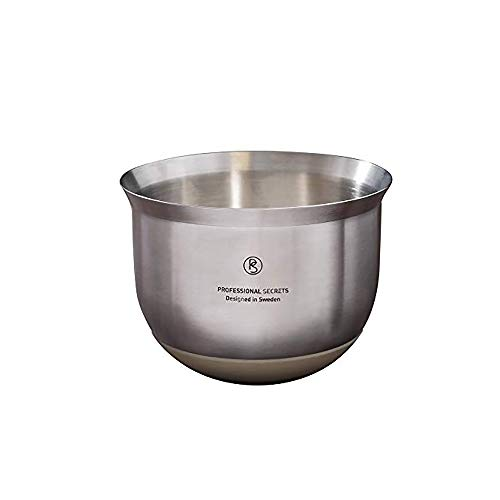 Professional Secrets Stainless Steel Mixing Bowls – Designed in Sweden, Non-Slip Silicone Base, Stackable Nesting Container Perfect Kitchenaide for Whipping, Baking, Cooking, Salad Mixer – 1.2 QT
