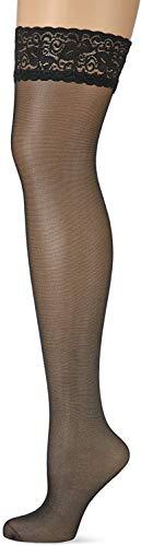 Nur Die Damen Halterlose Strümpfe 715999, Gr. 48 (44-48 = M/L), schwarz (schwarz 094)