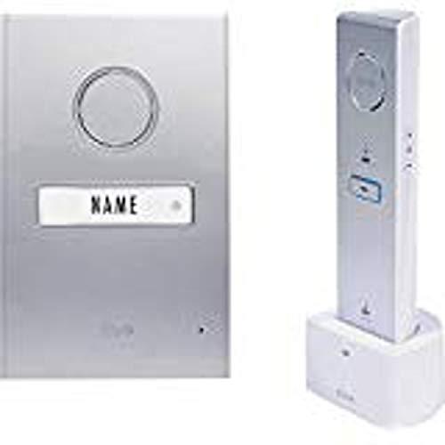 m-e modern-electronics 41063 Türsprechanlage Funk Komplett-Set 1 Familienhaus Silber, Weiß