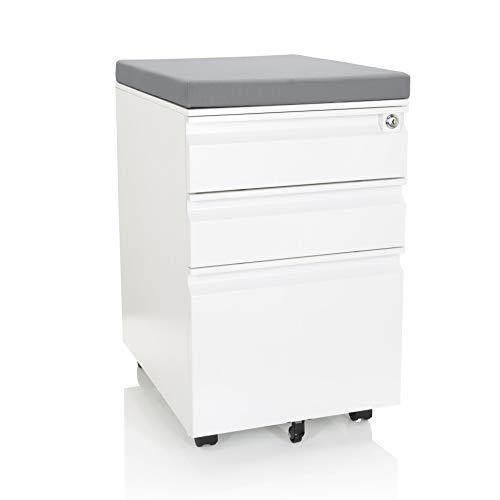 hjh OFFICE 743020 Rollcontainer mit Sitzkissen Color OS Stahl Weiß/Grau Rollschrank mit A4 Hängeregister, abschließbar
