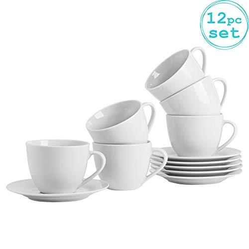 Argon Tableware Ensemble de Grandes Tasses à Cappuccino avec soucoupes Assorties Blanches - 320 ML (11 oz) - Ensemble de 6