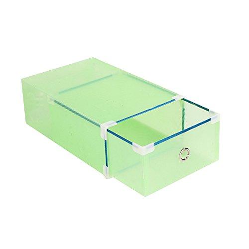 Vinteky Scatole a cassetti impilabili Sottili per Scarpe,Cassettiera con 10 cassetti in plastica (Verde)