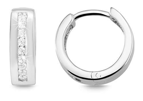 Giulia Luna GL5200062 Damesoorbellen, 925 zilver, gerhodineerd, creool, strass